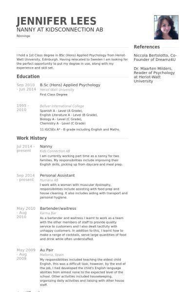 Nanny Resume Format by A Nanny Resume Exles Exles Nanny Resume