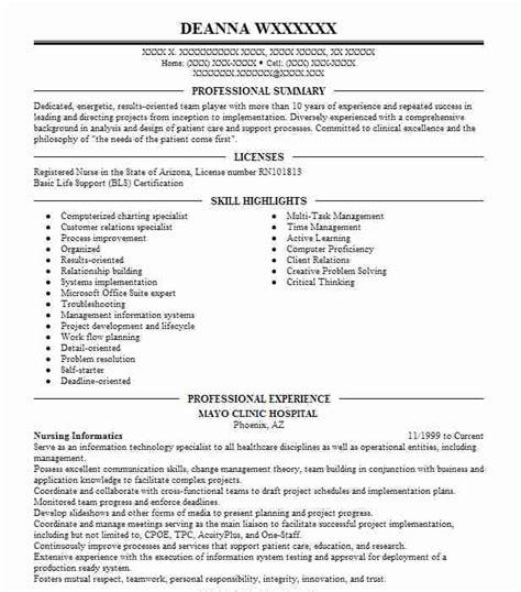 nursing informatics objectives resume objective livecareer