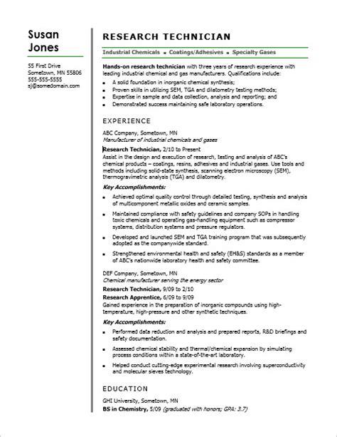 research technician resume sle
