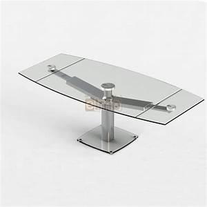 table repas moderne extensible pied acier verre club With meuble salle À manger avec table salle a manger en verre extensible