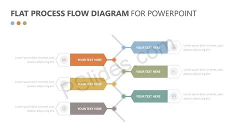 Proces Flow Diagram In Powerpoint by Flat Process Flow Diagram For Powerpoint Pslides