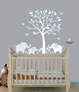 Elephant tree nursery sticker decal boys room wall decor for Great ideas for baby room decals for walls