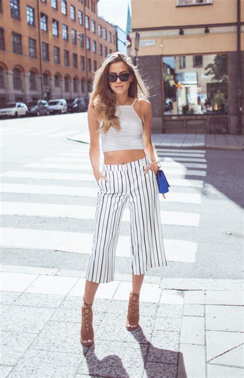 matching striped shirt culotte shorts fashion trend summer 2015 just