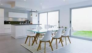 espace de vie multifonction cuisine ouverte sur la salle With salle À manger contemporaine avec ilot cuisine gris