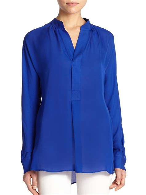 blue blouses polo ralph silk blouse in blue lyst