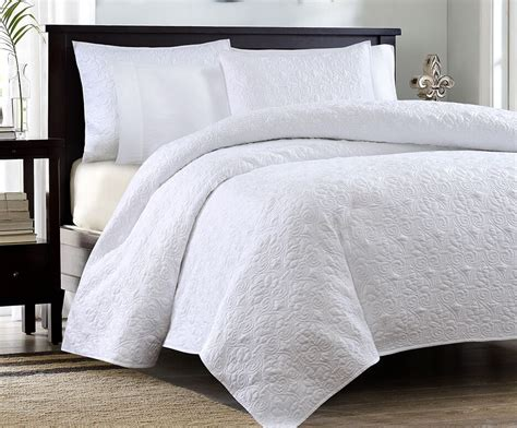 King White Coverlet by White Matelasse 3p King Quilt Set Cotton Fill Quilt