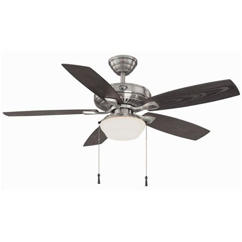 home depot ceiling fans outdoor hton bay gazebo 52 quot outdoor brushed nickel ceiling fan