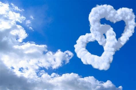 love hearts clouds  blue sky heart february image