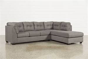 Maier Charcoal 2 Piece Sectional WRaf Chaise Living Spaces