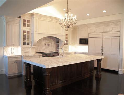 Grey Espresso Kitchen Cabinets With White Island On