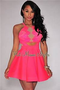 Neon Pink Lace Nude Mesh Key Hole Back Flared Dress
