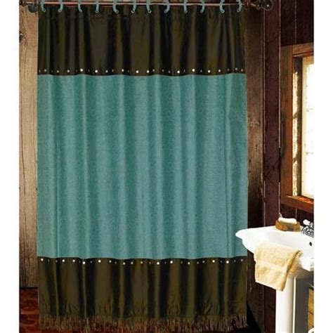 teal and brown curtains teal brown tooled shower curtain bathroom