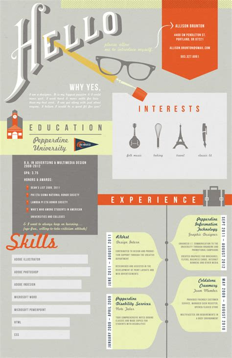Cool Infographic Resumes by Graphic Resume On Infographic Resume Graphic