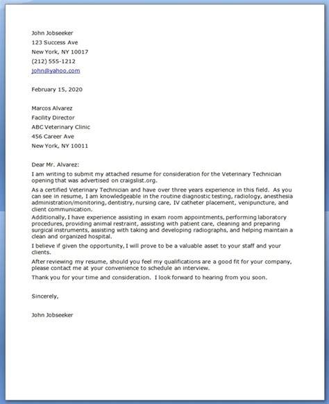 vet tech cover letter resume downloads