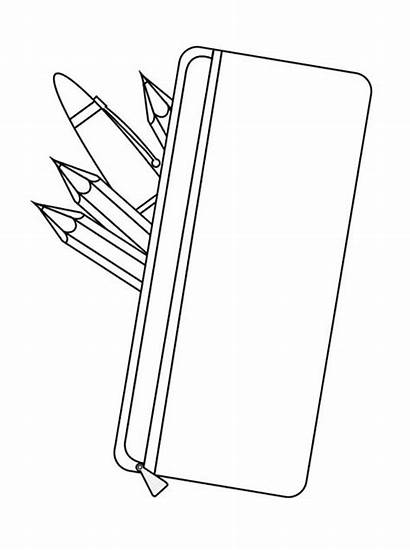 Pencil Case Clipart Coloring Pages Box Template