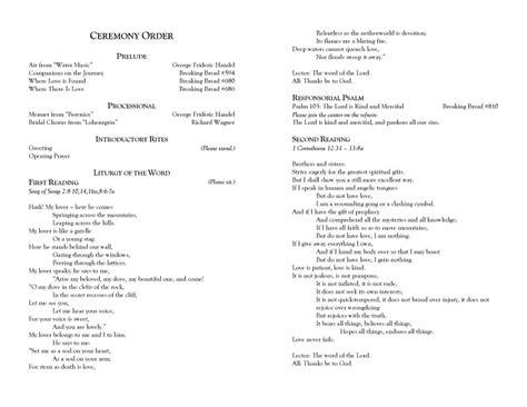 catholic wedding programs    mass ceremony