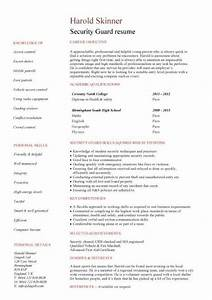 Ms Access Resume Student Entry Level Security Guard Resume Template