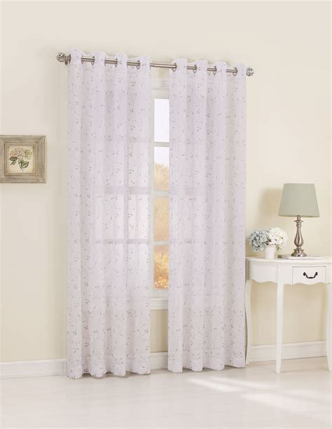 Kmart White Sheer Curtains by Embroidered Window Panel A Lovely Look With Sears And Kmart