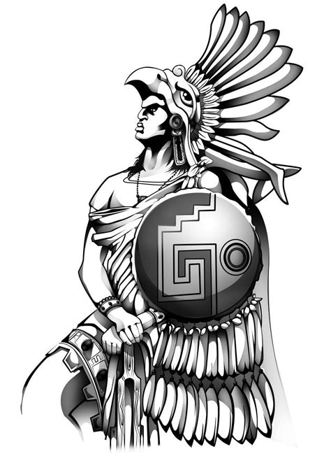 Aztec Eagle Warrior Drawing