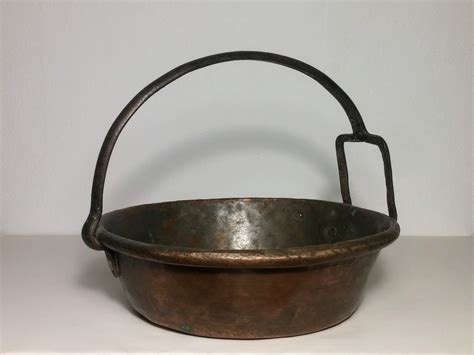 antique pan rustic pan italian copper  iron handlecasserole risottiera cauldron