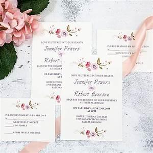 Simple rustic floral uv printing wedding invitations for Minimalist floral wedding invitations
