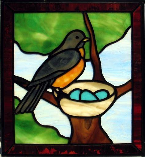 hand crafted robin  nest window  prairie studio glass