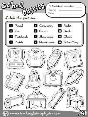 school objects worksheet for kindergarten school objects worksheet 1 b w version classroom