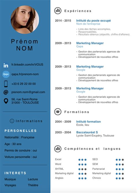creer un cv moderne cv photo le dif en questions