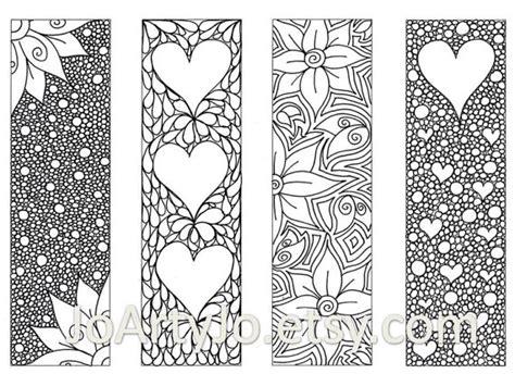 valentines bookmarks  print  color zentangle