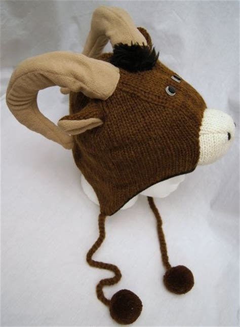 LONGHORN SHEEP HAT knit FLEECE LINED aries RAM mountain ...