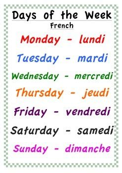 days   week poster english  french  classroom
