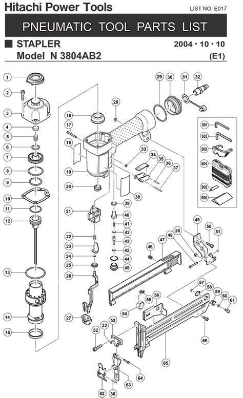 Hitachi N3804AB2 Parts - Pneumatic Stapler