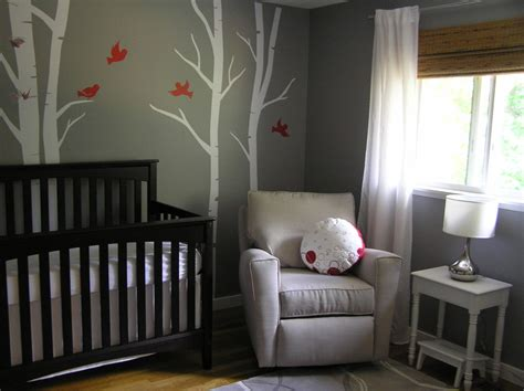 soothing gray nursery with birch trees project nursery
