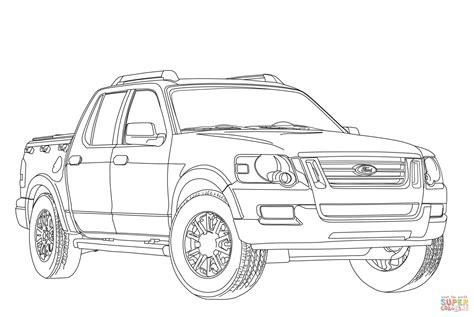Ford Kleurplaat by Ford Explorer Sport Trac Coloring Page Free Printable