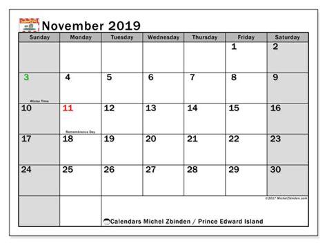 november  calendar prince edward island canada