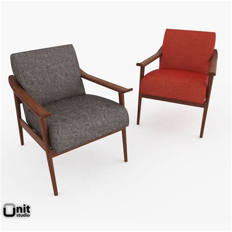 mid century show wood upholstered chair by 3d model max