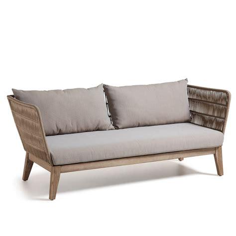 canapé de jardin 3 places en bois et corde belleny by