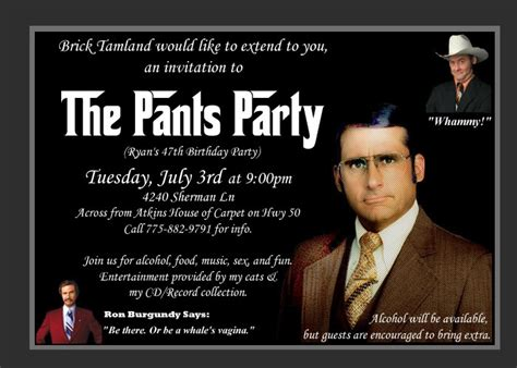 Pants Party Meme - quot brick tamland would like to extend you an invitation quot ron burgundy themed holiday party