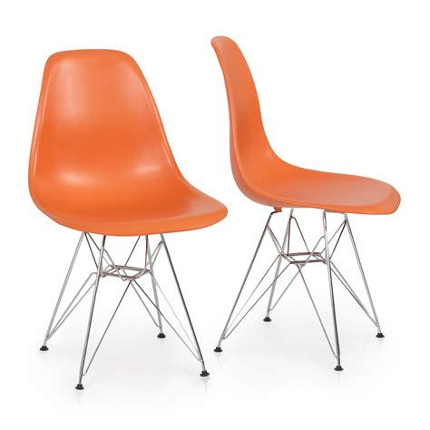 2x eames style dsw modern eiffel side chair molded abs