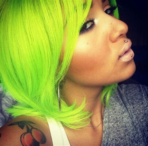 Neon Green Hair I Need This Color Asap Multiple