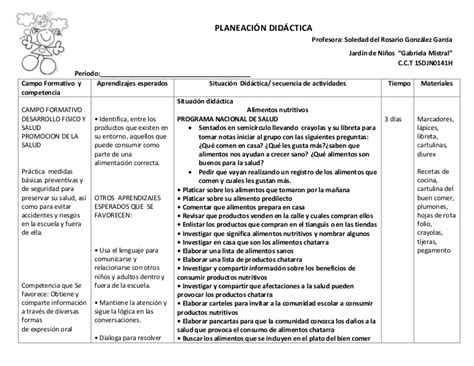 planeacion didactica  preescolar