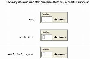 Solved  How Many Electrons In An Atom Could Have These Set
