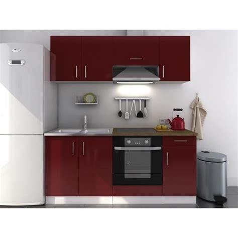 meuble de cuisine a prix discount evo cuisine complète laquée bordeaux 180cm achat vente cuisine complète evo bordeaux 180cm