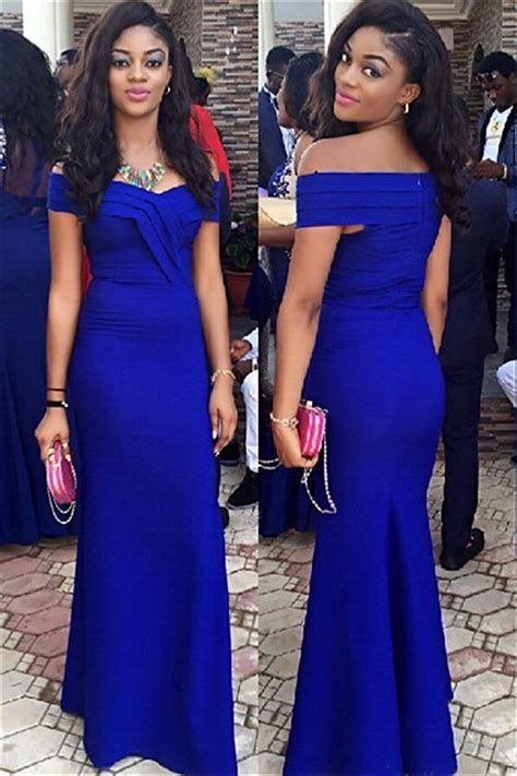 Royal Blue Wedding Guest Dress Sheath Off Shoulder 2018 Prom Dress Evening Dresses 2018 Special
