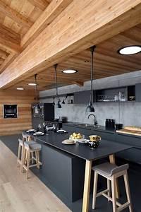 les 25 meilleures idees de la categorie maisons en bois With maison en beton banche 6 cuisine noire des photos deco pour sinspirer cate maison