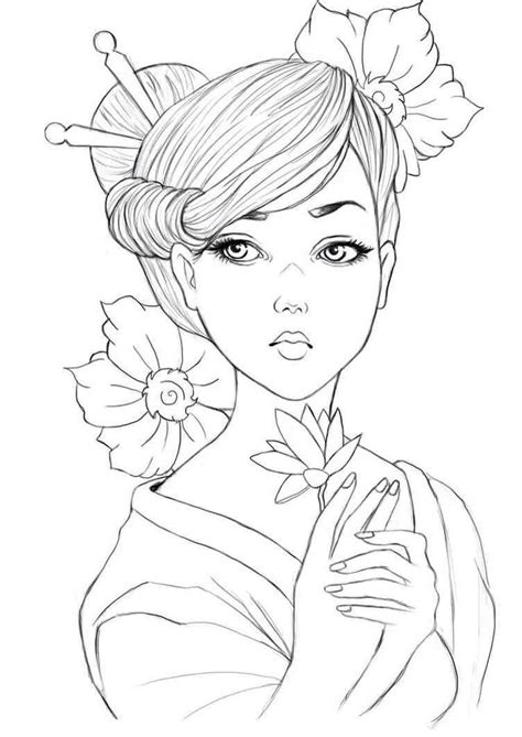Geisha colouring page | Asian Coloring Pages | Pinterest