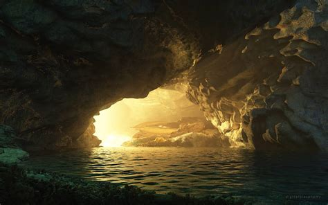 cave light dragon sleep water fantasy wallpaper