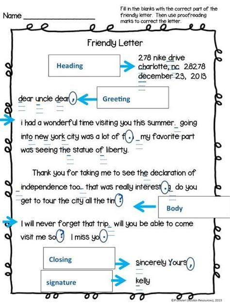 teaching  friendly letter  resource included
