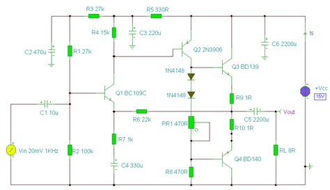 circuits 2w audio lifier using bd139 and bd140 transistors