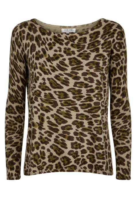 cocoa cashmere animal print cashmere sweater  south